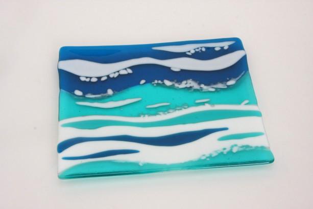 Ocean Waves Serving Dish Plate Platter Dish Table Art Artglass D-0094