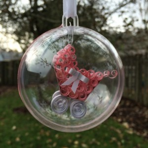 Unique Paper Quilling Christmas Ornament - Baby Girl Buggy