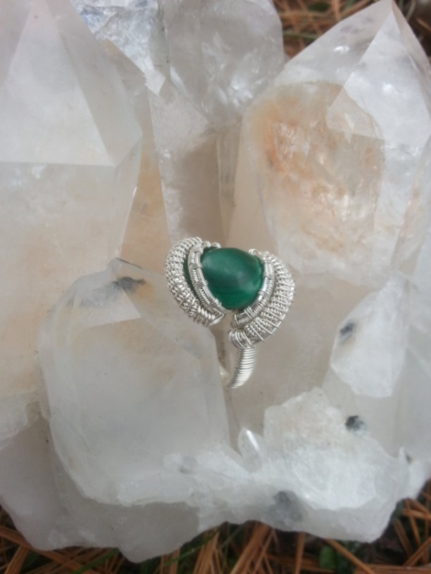 Handmade Malachite wire wrapped ring Size 10-10.5