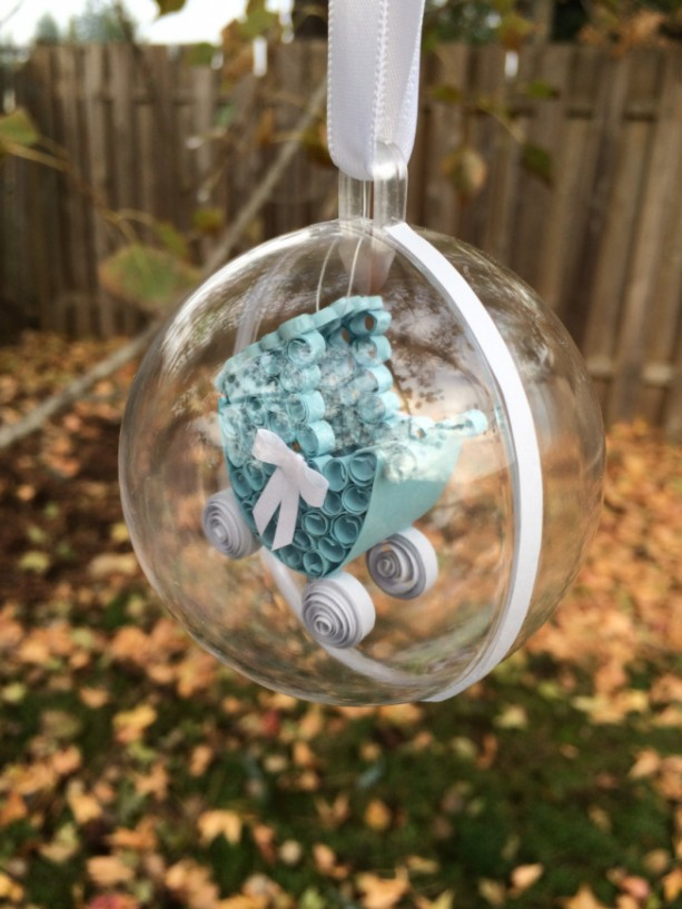 Unique Paper Quilling Ornament - Baby Boy Buggy