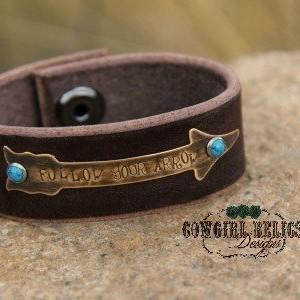 Rustic Western Cuff - Sassy Cowgirl, Gypsy, Tribal, Arrow, Turquoise - Follow Your Arrow