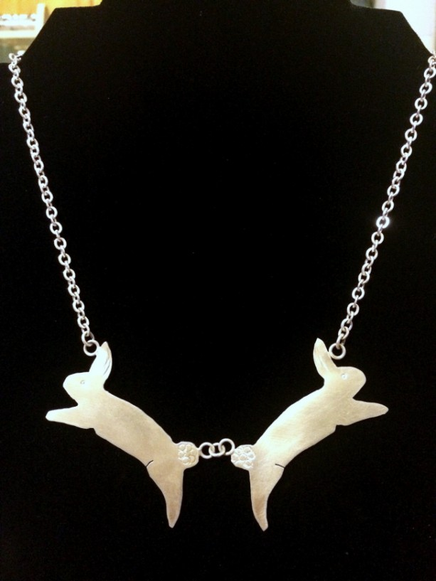 Order by 3/30 for Easter: Double Jumping Bunny Rabbit Sterling Silver Necklace