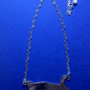 Order by 3/30 for Easter: Jumping Rabbit on Heart Chain Sterling Silver Necklace