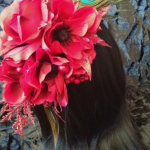 Red Hair piece head holiday feather bellydance festival gypsy goth halloween costume Drag Rockabilly Vintage Pin-up