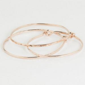Set of 3 Rose Gold Filled Bangle, Hand Forged Jewelry, Textured 14K Rose Gold Bracelet, Gold Hammered Bangle, Thin Gold Bangle, Gold Jewelry