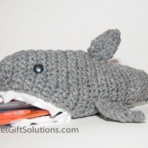 Shark Pencil Case with Zipper Closure at Mouth, Gift for Boy, School Pencil Case, Zipper Pencil Case, Crochet Pencil Case