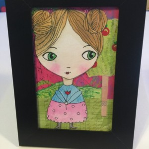 Mixed Media Whimsical Watercolored Girl with Collaged Background in a Black Frame. Great Gift Idea for Mom, Sister, Aunt, Daughter, Niece!