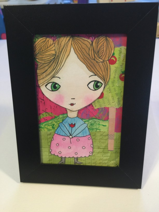 Mixed Media Whimsical Watercolored Girl with Collaged Background ...