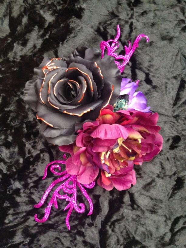 Rose Hair Flower Piece halloween goth festival costume bone drag Headdress Rockabilly Vintage Pin-up