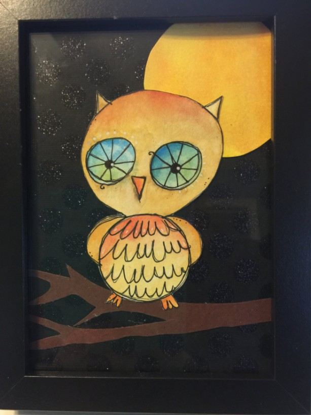 Whimsical Mixed Media Owl Collage in Thick Black Frame Done in Watercolor. Excellent Gift for Neighbors, Friend, Co-Worker, Teacher or Dad