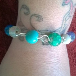Aqua Sea Blue Glass Bead Bracelet