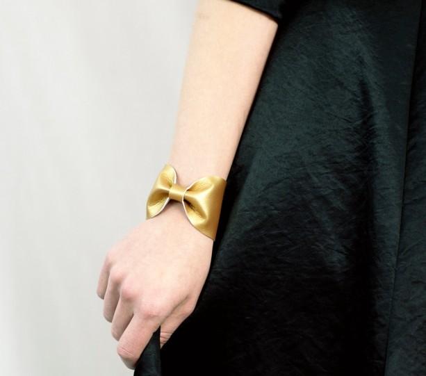 Gold Bow Bracelet Bowtie Cuff Metallic Faux Vegan Leather Tie Scarf