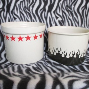 Kitchen Utensil or Paintbrush Holder Handmade Tattoo Flames Stars OHIO USA Ceramic Pottery