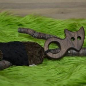 Walnut Wood Raccoon Teether with Fabric Crinkle Tail