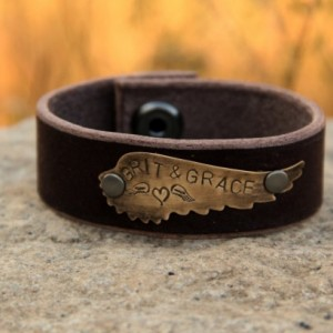 "Rustic Cowgirl Leather and Brass Stamped Western Cuff - ""Grit & Grace"" Wing Cuff"