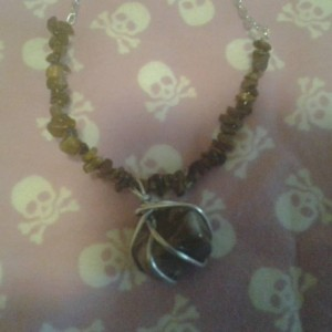 Brown with White Swirl Stone Necklace with Jasper chips