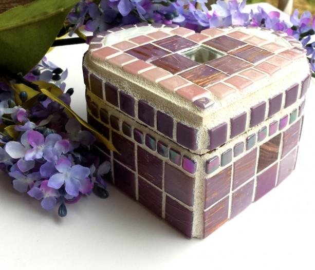 Keepsake Jewelry Box Heart Shaped Mosaic Art in Pink and Purple