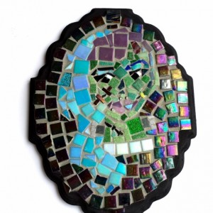Frankenstein Lady Monster Mosaic Portrait. Wall Hanging, Wall Art, Ready to Hang. Goth or Hipster Home Decor. Unique, Dark & Strange Artwork