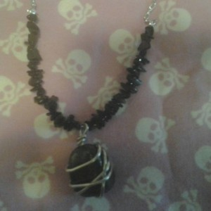 Hematite polished stone Necklace with Black Jasper Chips
