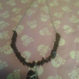 Black stone necklace with Black Jasper Chips
