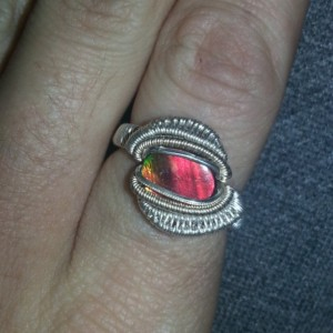 Handmade Wire wrapped ring Featuring Canadian Ammolite Cab Size 9.5 Fine silver and White Gold fil wire