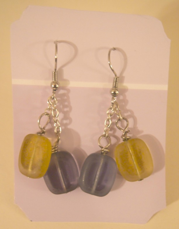 Purple and Yellow Glass Square Earrings