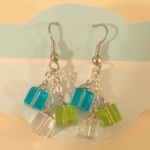 Blue, Green and White cube earrings,