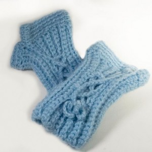 Powder Blue Hand Crocheted Fingerless Mitts Just in time for Christmas Gifting