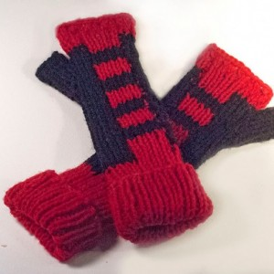Red & Black Hand Knitted Fingerless Texting Gloves. Just in time for Christmas Gifting