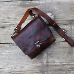 Handmade Leather Cross Body Bag. Hand Stitched. Leather Messenger Bag  Bret Cali Bag Shoulder Bag