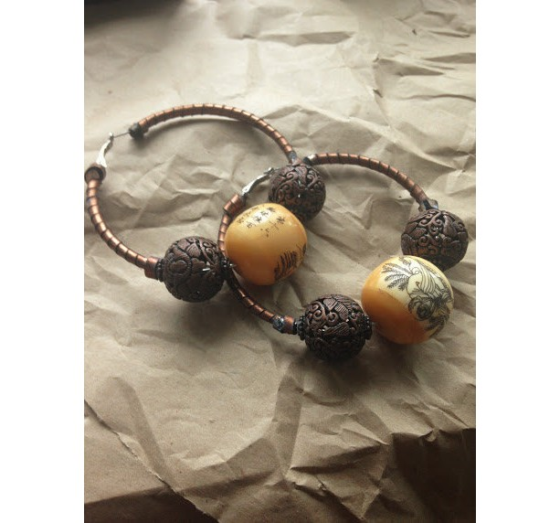 Hand carved painted stone bead Earrings Bronze Chinese Leather Hoops Gauge
