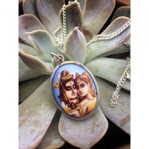 "Ceramic Hindu Cabochon God Goddess Buddhism Inscription imprint alloy on back hand painted 28"""
