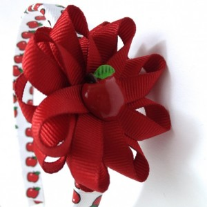 Red White Apple Hair Bow Headband