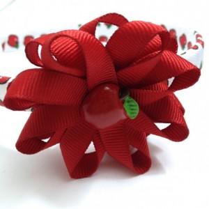 Red White Apple Hair Bow Headband