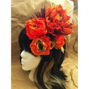 Flower Hair Piece Festival goth headdress quartz crystal belly dance fall costume drag bridal burlesque rockabilly vintage pin-up