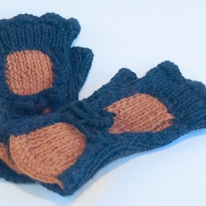Rust & Black Hand Knitted Fingerless Texting Gloves. Just in time for Christmas Gifting