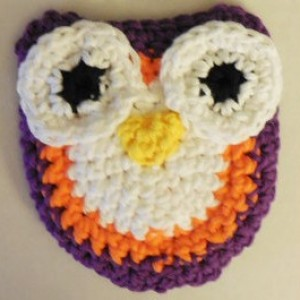 Set of 2 Owl Scrubbie , Dish / Pot Scrubby , Crochet Cleaning Scrubber , White, Orange and Purple Owl Scrubber , Handmade Tri - Colored Owl    os115