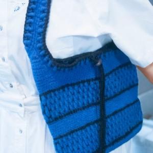 OOAK Hand Crocheted & Felted Wool Shoulder/Hand Bag... Royal Blue and Black