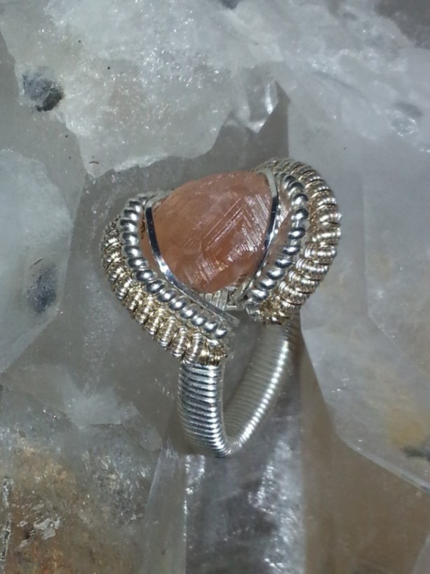 Handmade Wire Wrapped Ring Featuring Canadian Hessonite Garnet SIZE 8