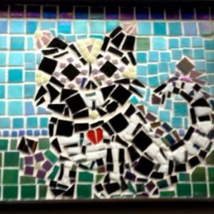 Mosaic Art Serving Tray Day of the Dead Sugar Skull Cat in a garden