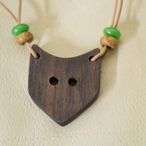 Wood Fox Animal Nursing/Teething Necklace Pendant