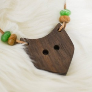 Wood Fox Animal Nursing/Teething Necklace Pendant