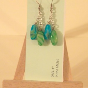 Blue Green Drop Earrings