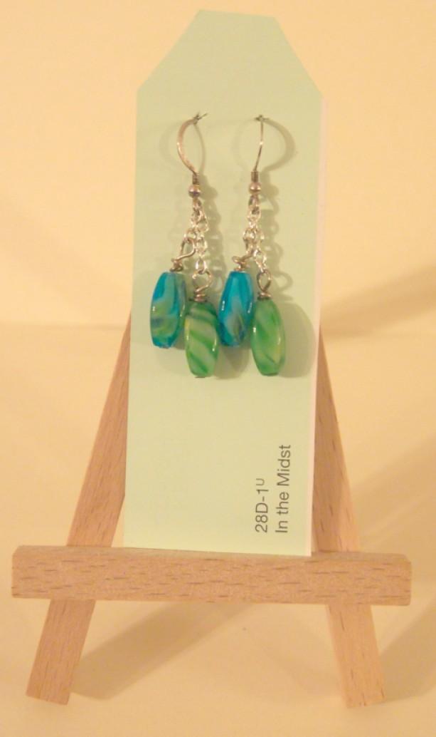 Blue Green Drop Earrings