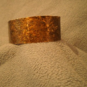 1 Inch Red tone Brass Bracelet with Dark Patina