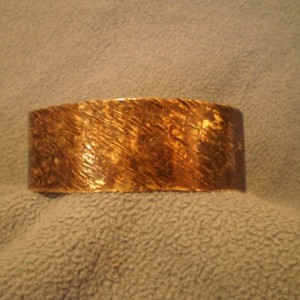 Textured Brass Bracelet with Dark Patina
