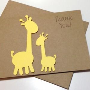 Giraffe Baby Shower Thank You Card Set Giraffe Birthday Thank You Cards, Giraffe Thank You Cards, Baby Thank You, Giraffe