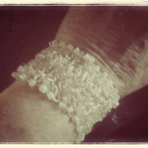 Winter White Crocheted Wire Beaded  Cuff Bracelet