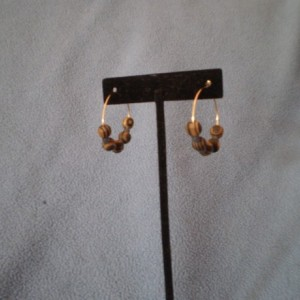 Closed Hoop Earrings with Wood and Seed Beads