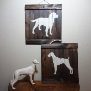 Rustic hunting dog wooden wall art